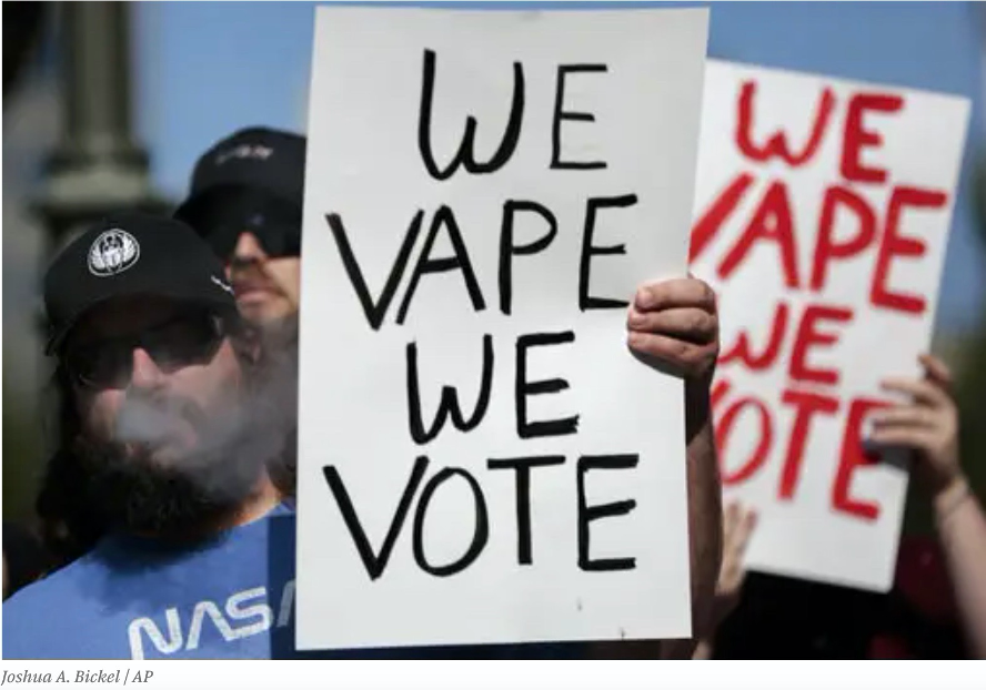 """A Fight Over Vaping 'Bots' Is Blazing While E-Cigarette Bans Loom"" from BuzzFeed"